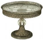 Filigree Metal Single Cake Stand w Glass Shelf and Ball Design